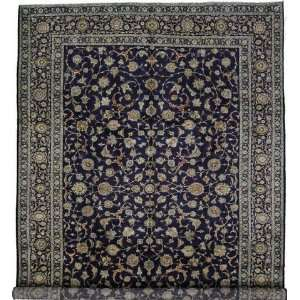 100 x 138 Navy Blue Persian Hand Knotted Wool Kashan Rug