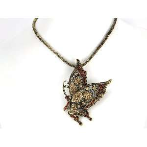 Topaz Orange Crystal Rhinestone Butterfly Pendant Necklace Jewelry