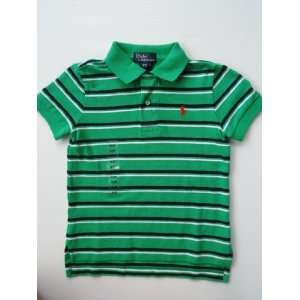 Ralph Lauren Toddler Baby Boy Polo Pony Mesh Shirt Green with Navy