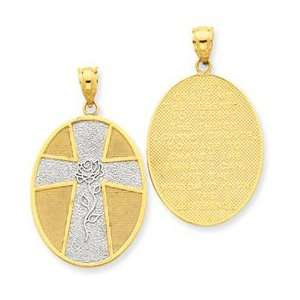 14k Yellow Two tone Gold Serenity Cross Pendant Jewelry