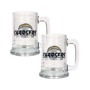 San Diego Chargers NFL 2pc 15oz Glass Tankard Set  Primary