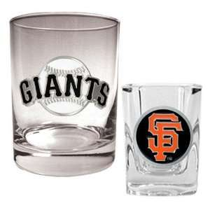 San Francisco Giants MLB Rocks Glass & Square Shot Glass Set   Primary