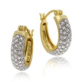 Yellow Gold Plated Sterling Silver Diamond Accent Small Hoop Earrings