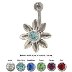 Jeweled Flower Belly Ring Surgical Steel   BP126 Jewelry