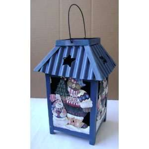 Christmas Teddy Bear Metal Lantern   Use with tea lights