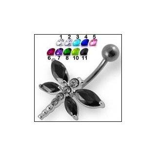 Turquoise Jeweled Dragonfly Belly Ring Body Jewelry Jewelry