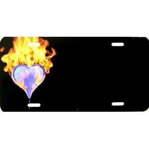 Flaming Fire Heart License Plate Plates Tag Tags auto