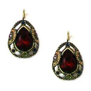 Second Glance Designs Antique Bronze Finish Red Crystal Teardrop