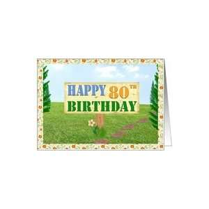Happy 80th Birthday Sign on Footpath Card Toys & Games