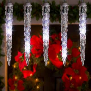 LED Shooting Star Christmas Light String Set of 8 Icicles, Cool White