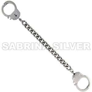 Stainless Steel Curb Cuban Link 7.25 in. Handcuffs Bracelet, 3/8 in