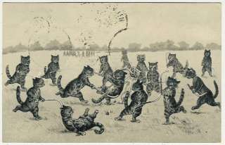, Louis Wain ?, Cats Playing Field Hockey, comic old postcard