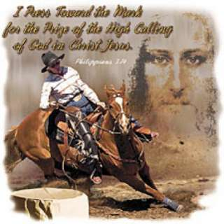 CHRISTIAN T SHIRTS HORSE BARREL RACER SADDLE COWBOYS RODEO CHRIST