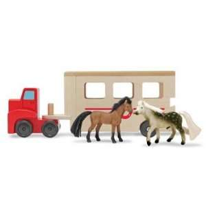 Wooden Toy Horse Trailer with Toy Horses Toys & Games