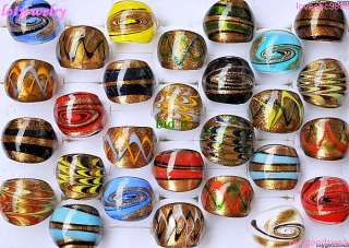 wholesale 50pcs handmade gold sand murano glass rings