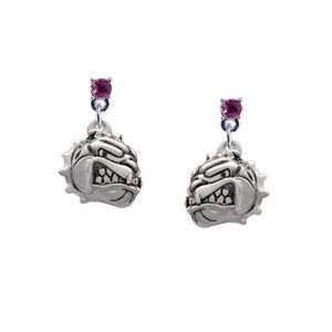 Small Bulldog   Mascot Hot Pink Swarovski Post Charm Earrings [Jewelry