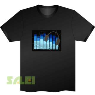 Black Music Sound Activated EL Equalizer LED T Shirt Earphone